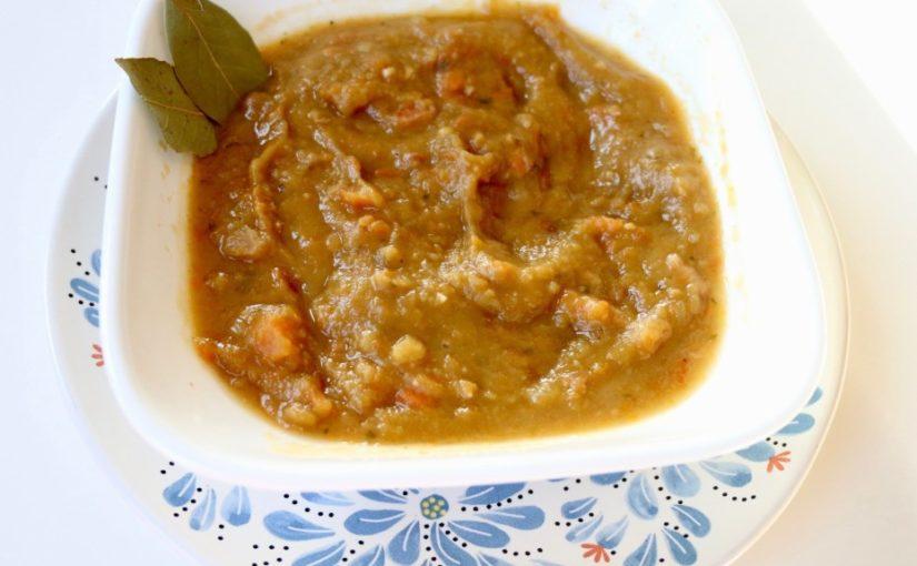 Sopa de alverja con jamón